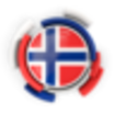 Norway round flag with pattern 64