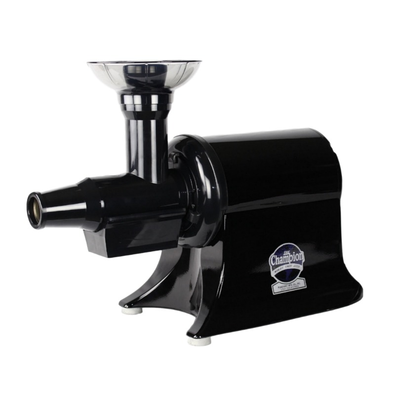 Best masticating juicer for juicing fruits and vegetables, making smoothies, sorbets, nut butters like peanut butter & almond butter, fruit whips, baby food, applesauce, tomato sauce and more! | Black Masticating Juicer | Champion Classic 2000 Household Juicers | Made in the USA
