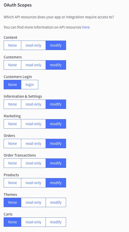 API Account Scopes