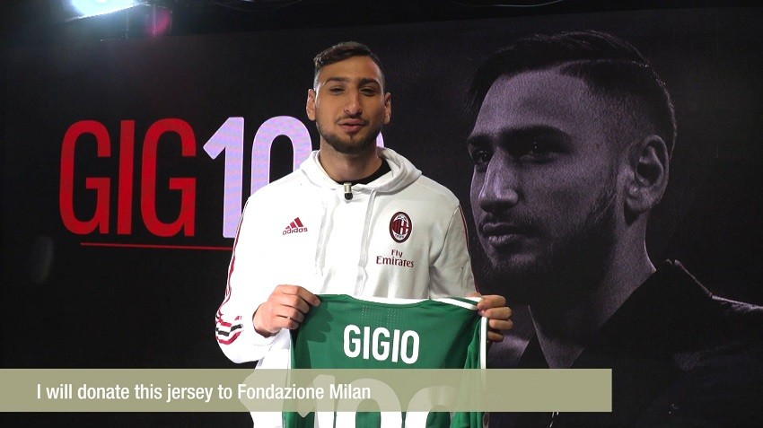 Donnarumma's 100th Game Milan Shirt, Signed with Dedication