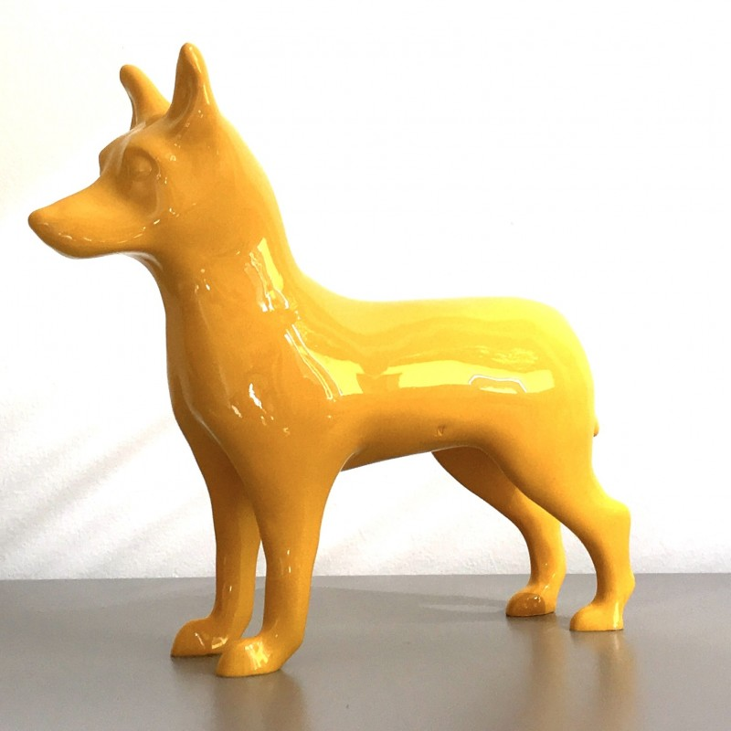 """""""NinaForTheDogs"""" - marble dust sculpture by A. Resina - 31x30x0.9 cm"""