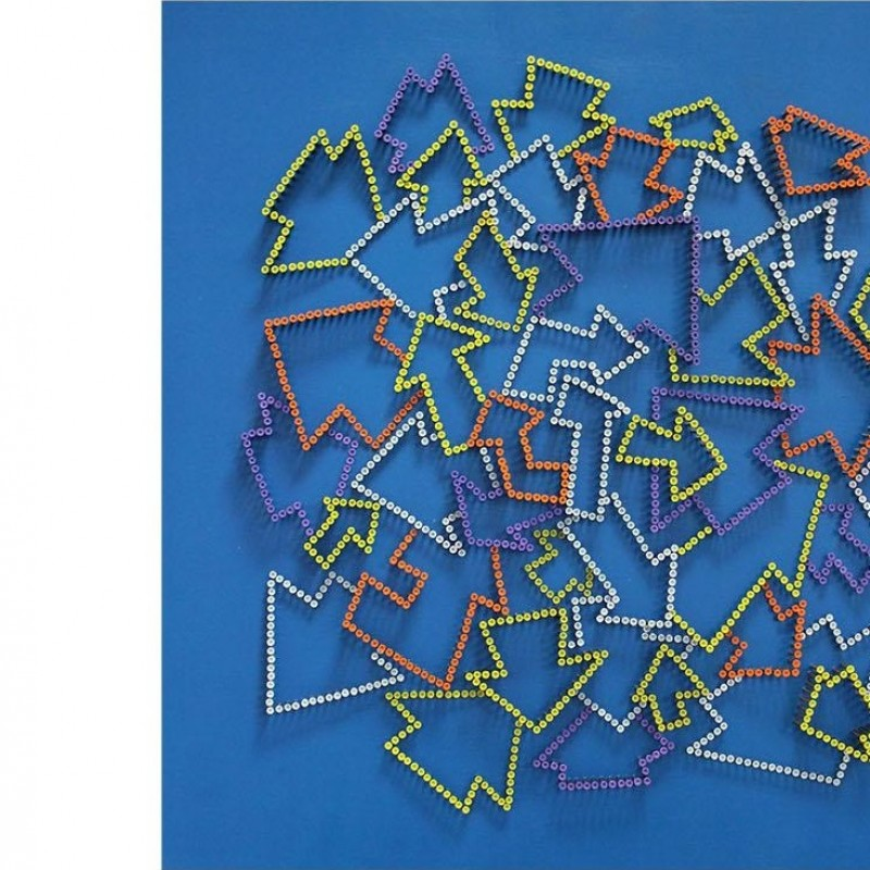 """Arrows"" - acrylic on 2000 self-tapping screws - Drill Monkeys Art Duo - 81x81x10 cm"