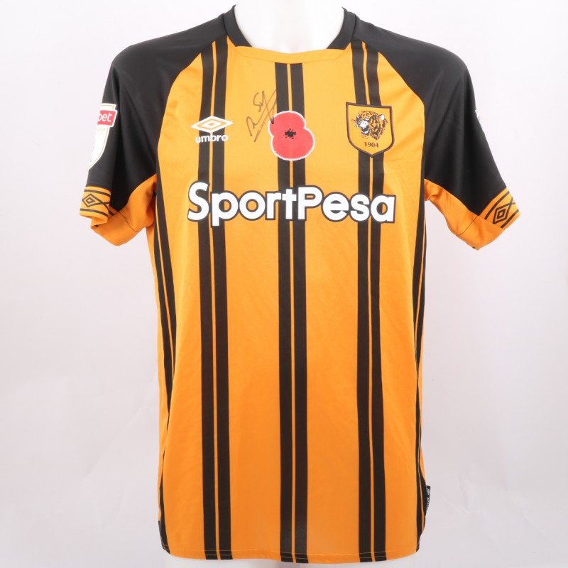 6fa3b8a43bd Sheaf s Hull City Match-Issue Signed Poppy Shirt