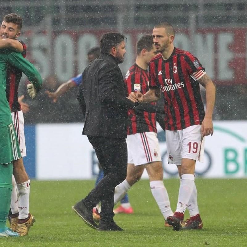 Bonucci's Milan-Bologna 2017 Match-Issue Signed Shirt