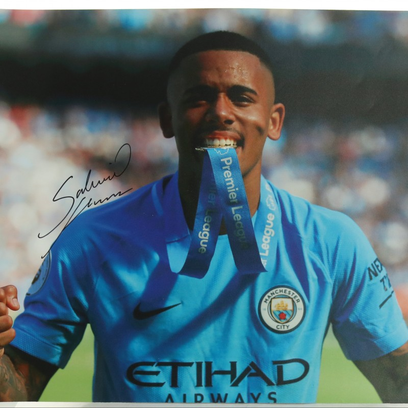 """Manchester City's Gabriel Jesus with his Premier League Medal"" Signed Picture"