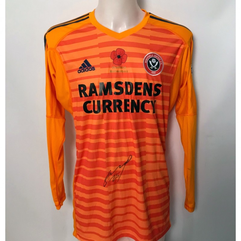 Simon Moore's Match-Worn Sheffield United Signed Poppy Home Shirt