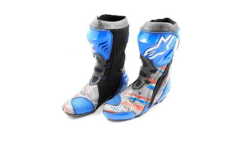 Racing Boots Worn and Signed by Motorbike Racer Andrea Dovizioso