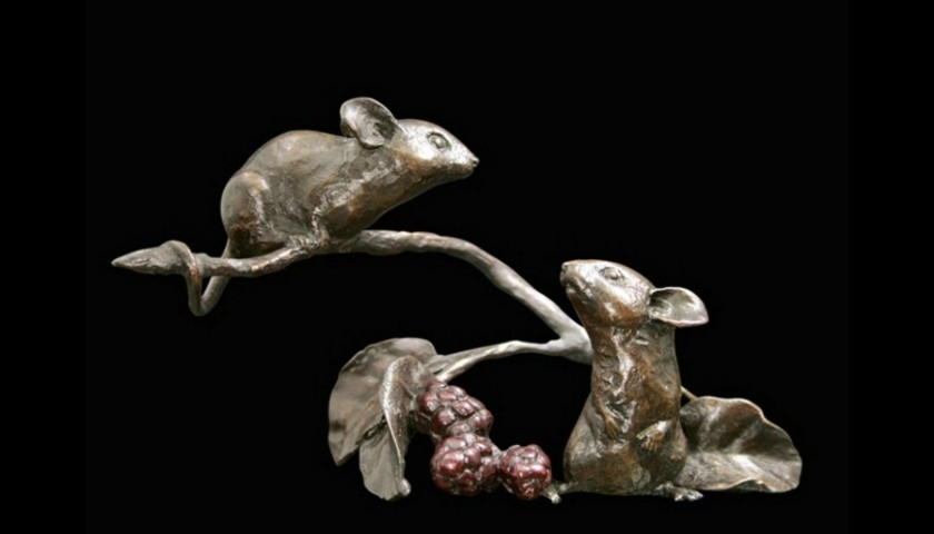 Mice Bronze Sculpture Michael Simpson. Limited Edition Mouse with Berry