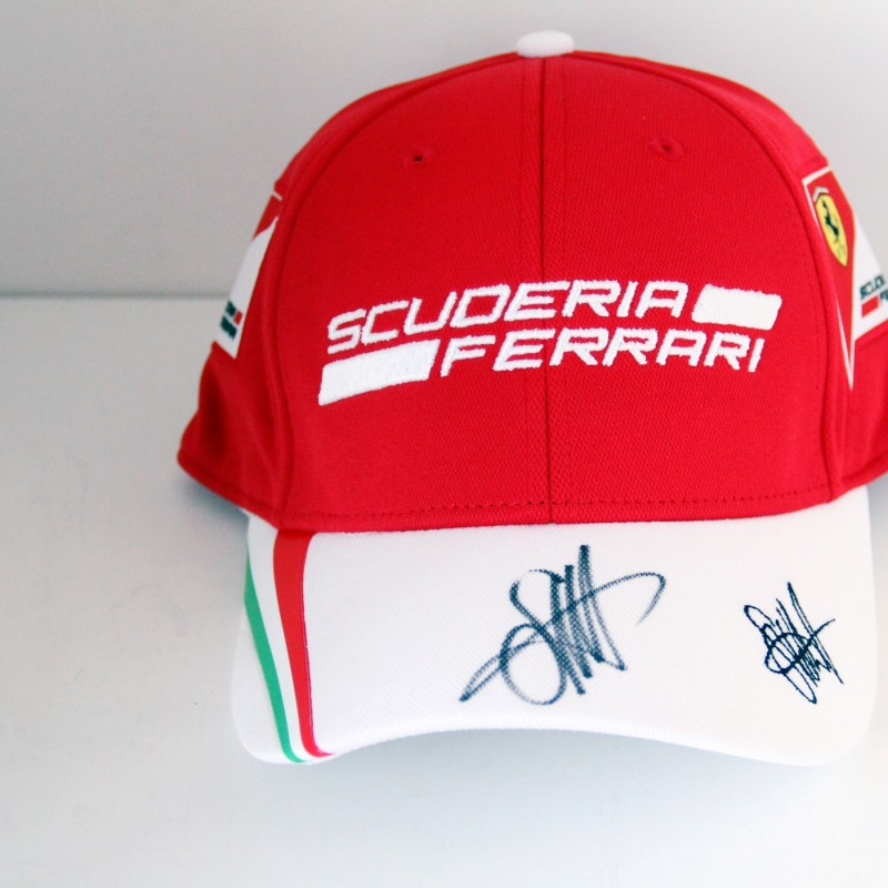 Ferrari hat signed by Sebastian Vettel