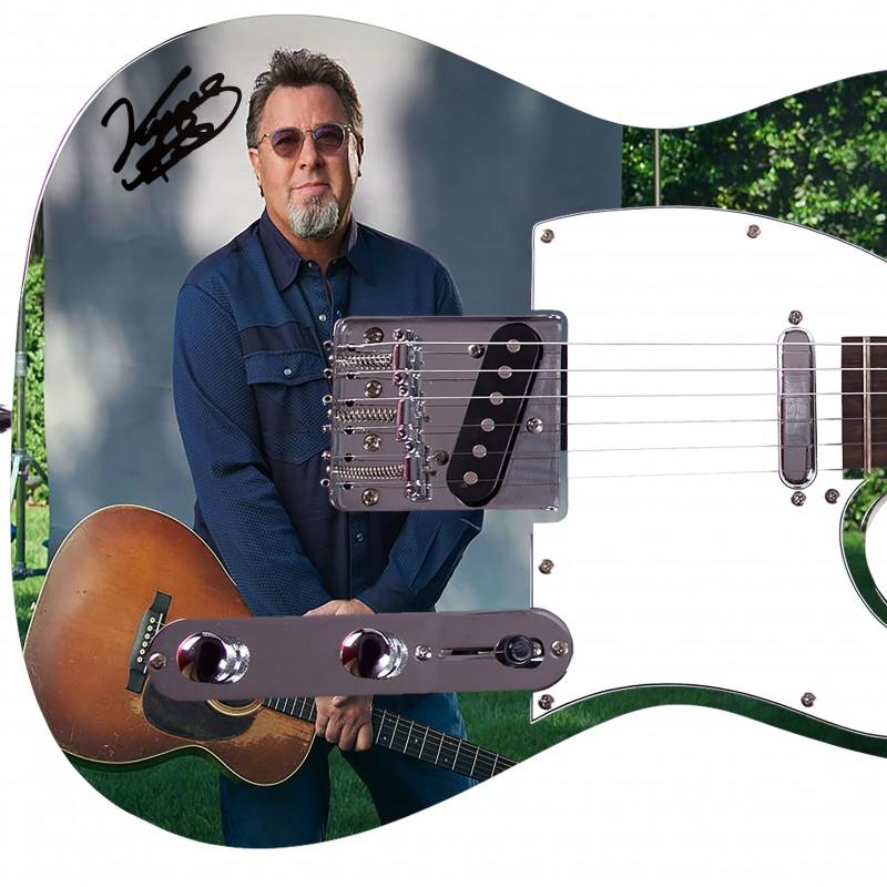 Chitarra con grafica personalizzata e firma digitale di Vince Gill