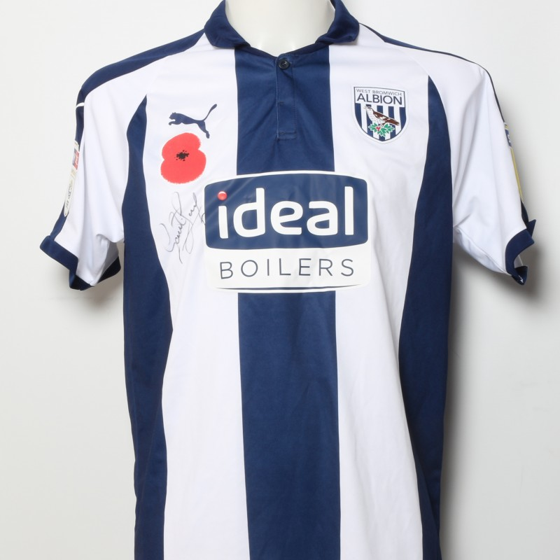 Gareth Barry's West Bromwich Albion  Worn and Signed Home Poppy Shirt