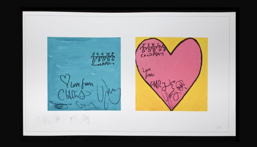 """""""Blue Square, Pink Heart""""  Signed by Coldplay"""