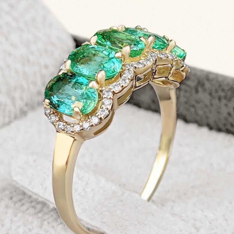 Half Eternity Emerald And Diamond Ring  set in 14K Gold