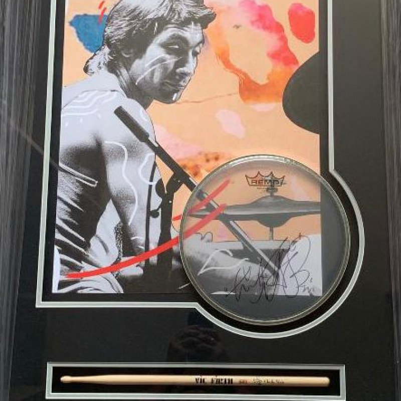 The Rolling Stones Charlie Watts Autographed Official Display