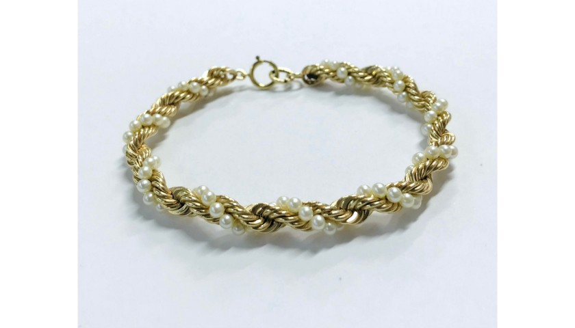14KT Yellow Gold Twisted Pearl Bracelet