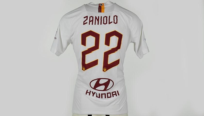 """Zaniolo's Match-Issued Shirt, Roma-Parma - """"Grazie Maestro"""""""