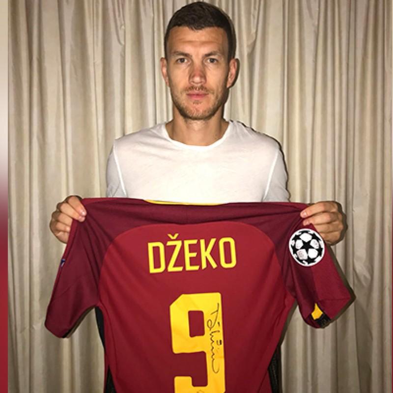 Dzeko's Signed Match-Worn Shirt, 2018 Roma-Shaktar