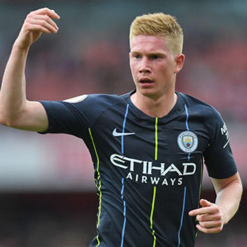 De Bruyne's Manchester City Match Navy/Volt Shorts, Premier League 2018/19