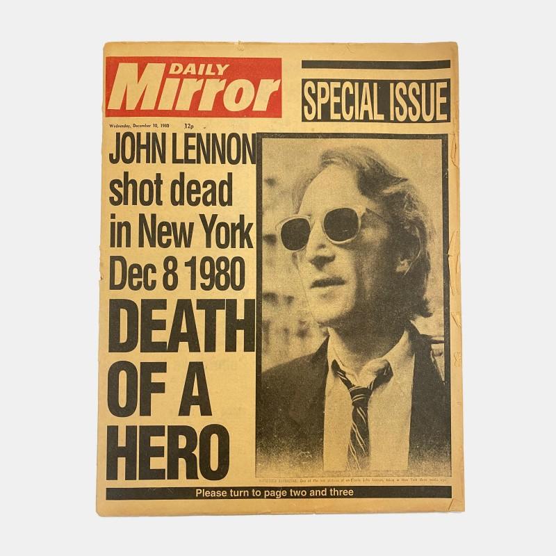 Daily Mirror 'John Lennon Death of a Hero' 10/12/1980 Original Newspaper