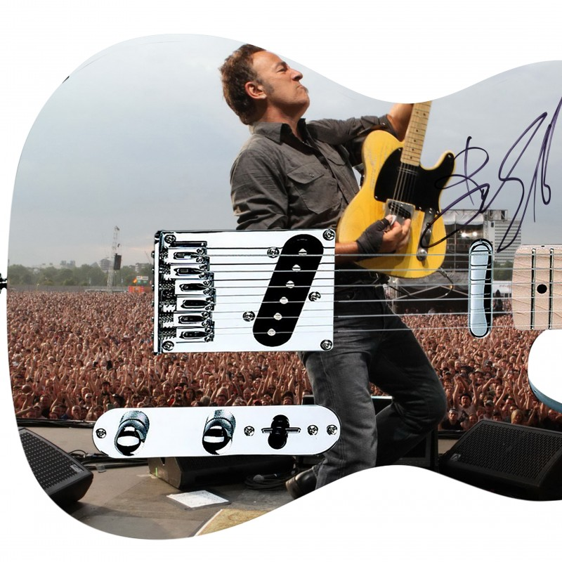 Bruce Springsteen Hand Signed Custom Graphics Guitar