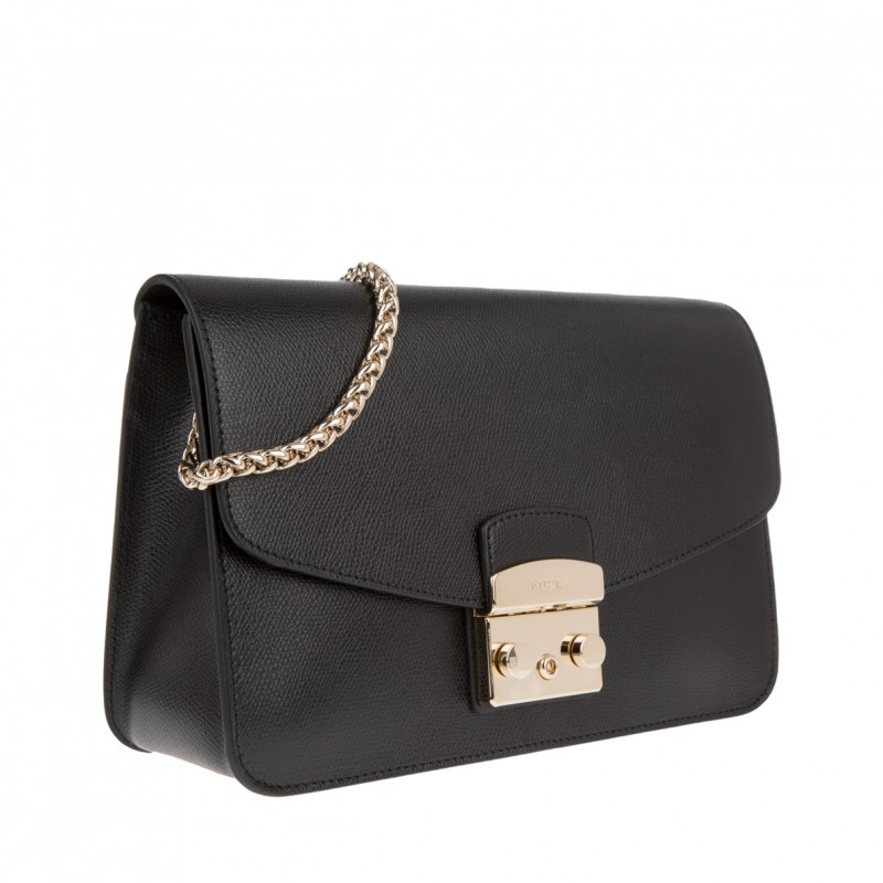 Furla Medium Black Leather Handbag