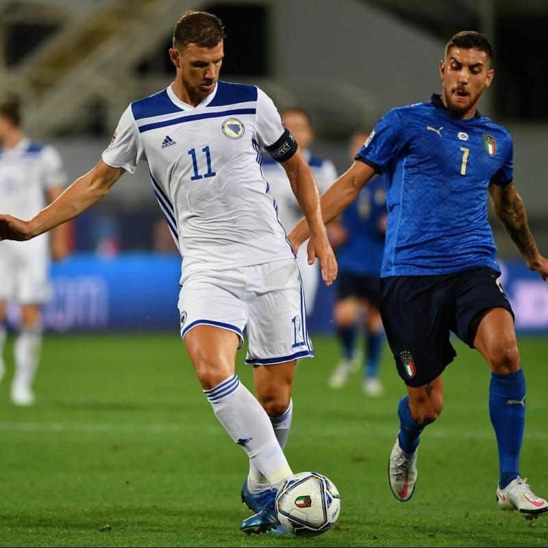 Dzeko's Worn Shirt, Italy-Bosnia 2020