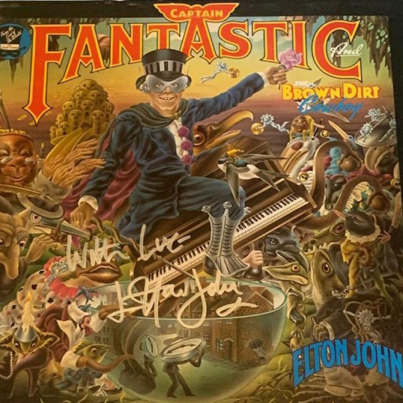 Elton John Signed Captain Fantastic and The Brown Dirt Cowboy Vinyl LP