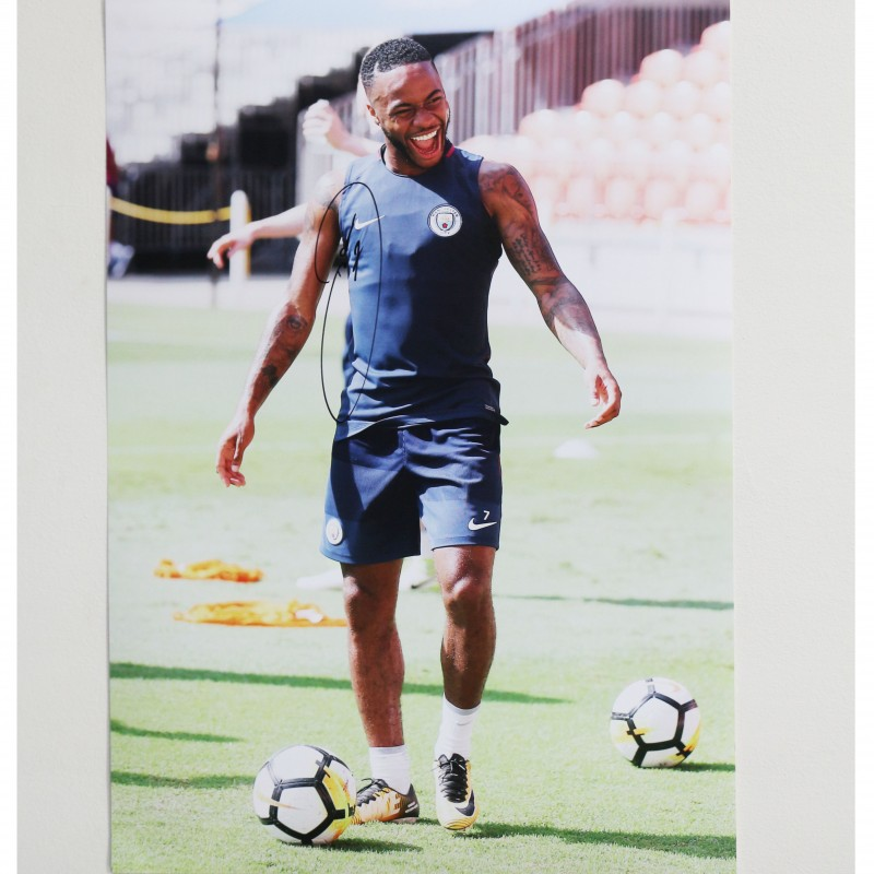 Raheem Sterling Training Manchester City A2 Signed Photograph