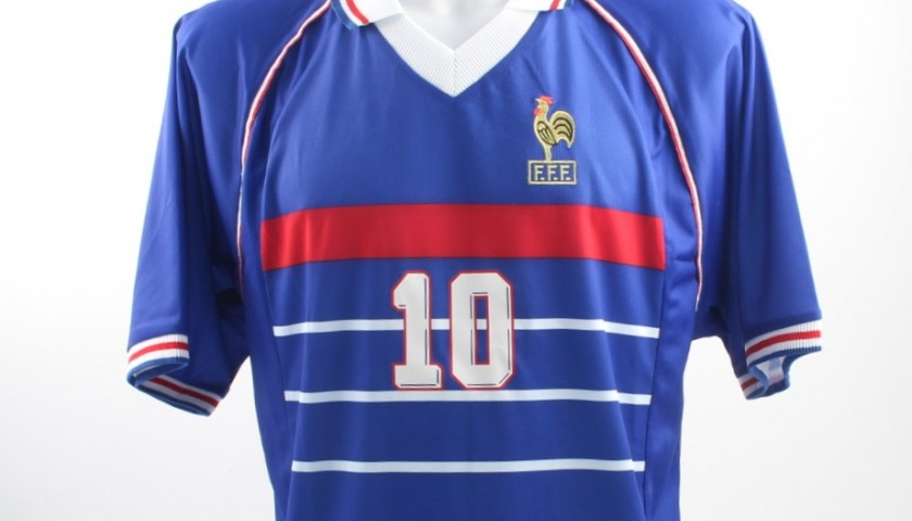 d4fbe9b29 Zinedine Zidane Signed France 98 Football Shirt - CharityStars