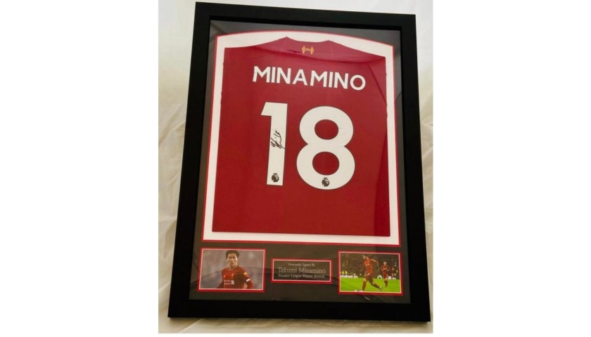 Takumi Minamino Liverpool Signed & Framed Shirt