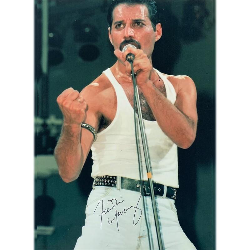 Freddie Mercury Signed Photograph - Wembley 1985