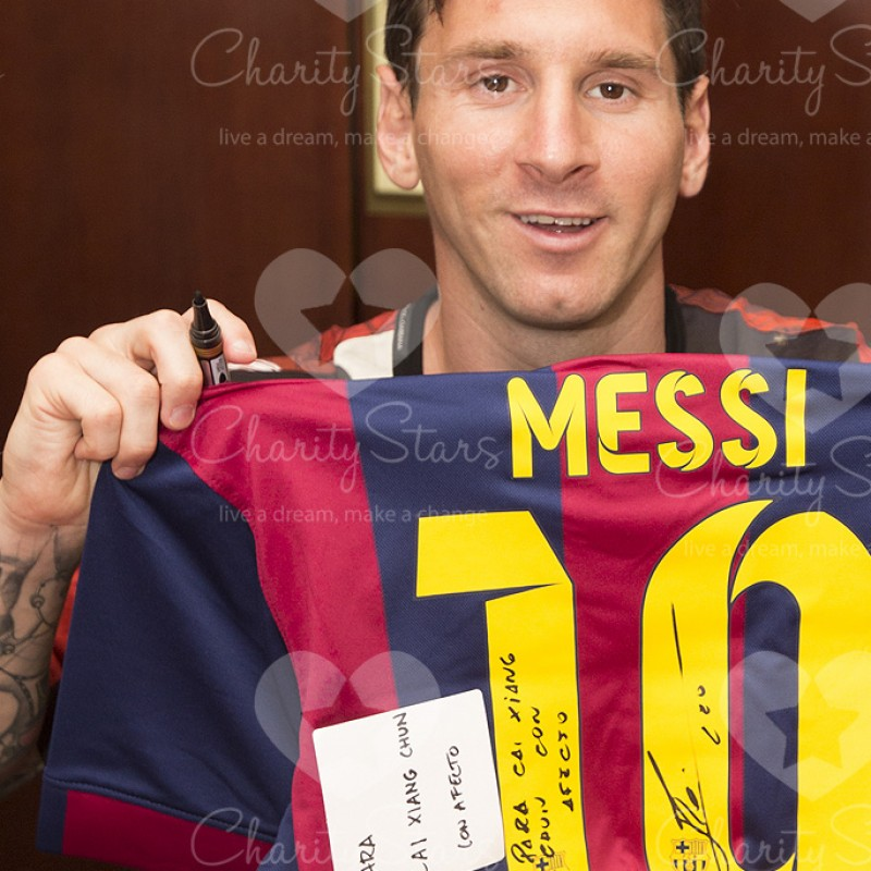 Lionel Messi Signed and Personally Dedicated FC Barcelona Shirt