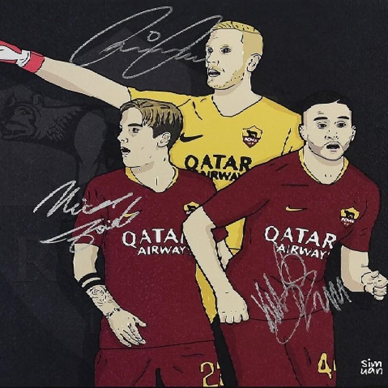 Illustrazione Manolas, Zaniolo, Olsen autografata
