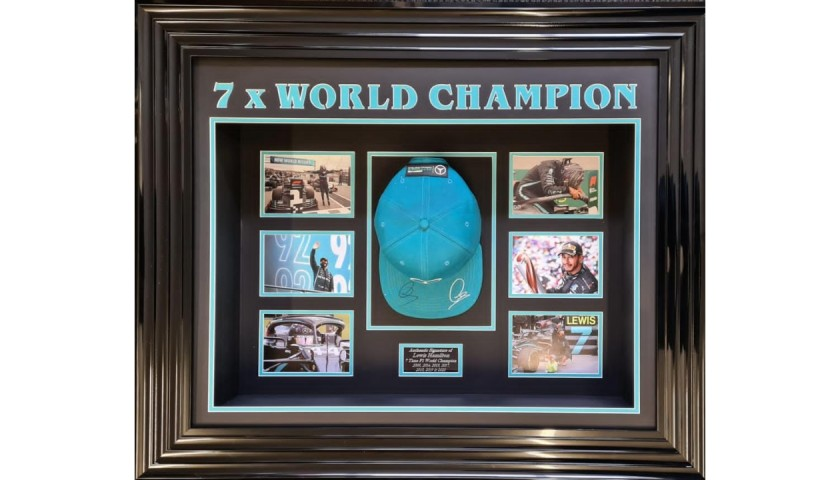 World Champion Lewis Hamilton Signed Cap Display