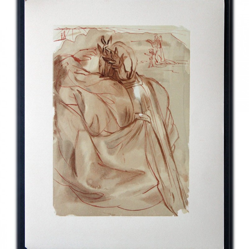 """Original Board by Salvador Dalì - """"Il pentimento di Dante"""" Purgatorio Canto XXXI"""