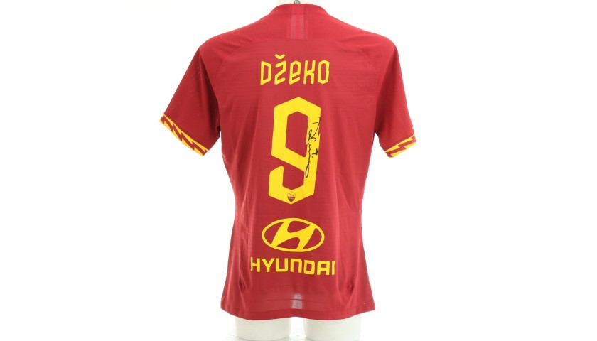 Dzeko's Worn and Signed Shirt, Roma-SPAL 2019