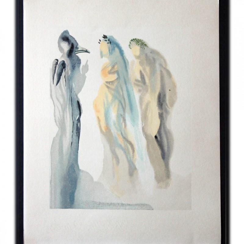 """Original Board by Salvador Dalì - """"Il trovatore vescovo"""" Paradiso Canto IX"""
