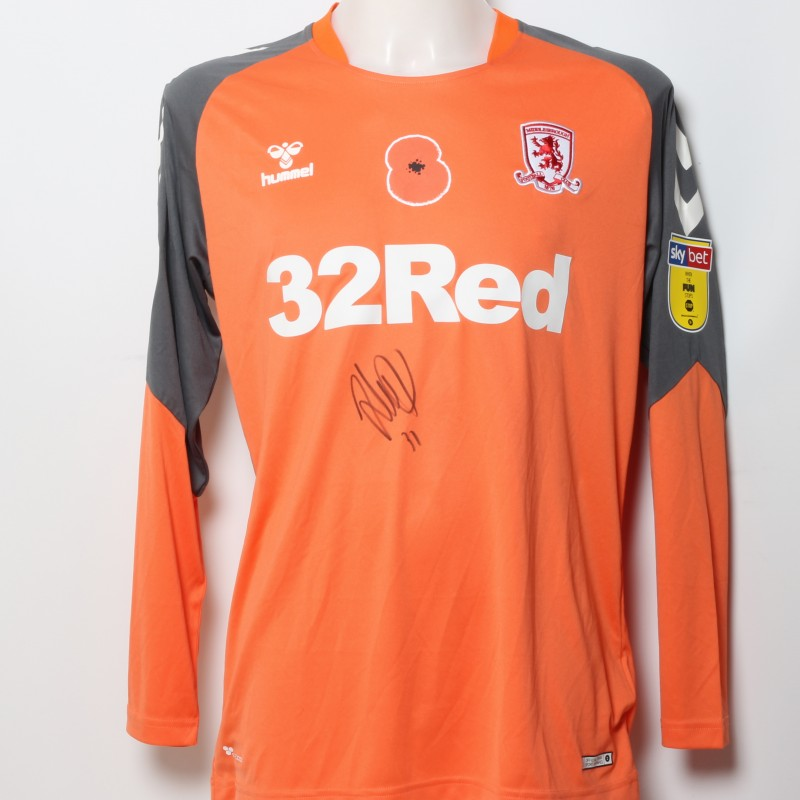 Andy Lonergan's Middlesbrough Worn and Signed Home Poppy Shirt