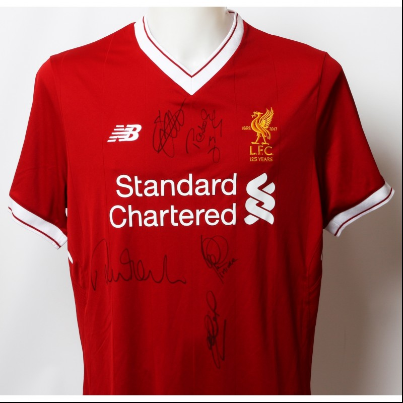 "Official LFC 125 ""2001"" Shirt Signed by Fowler, Gerrard, Hyypia, Berger and Smicer"