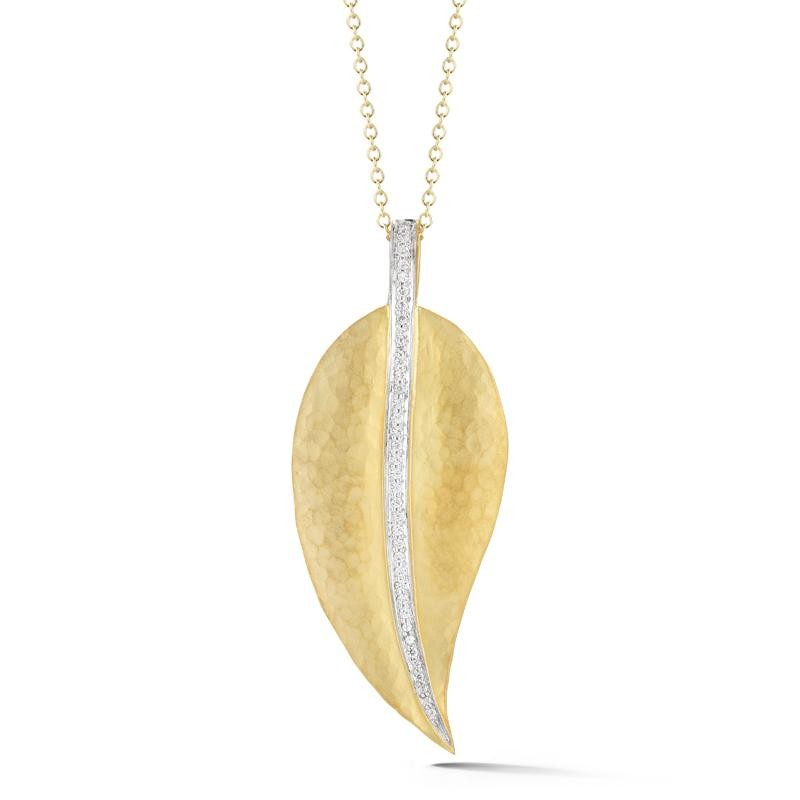 14 Karat Yellow Gold Matte and Hammer-Finish Leaf Pendant