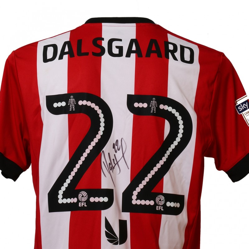 Official Match-Issued Poppy Shirt Signed by Brentford FC's Henrik Dalsgaard