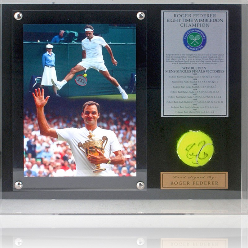 Roger Federer Hand Signed Tennis Ball Wimbledon Display
