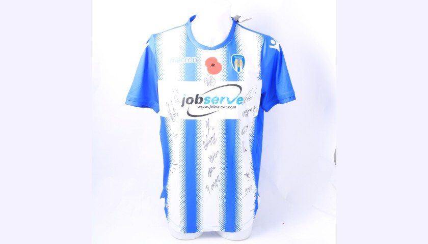 Colchester United Official Poppy Shirt Signed by the Team