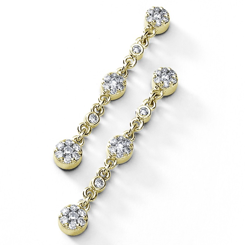 14KT Yellow Gold Diamond Dangle Earrings