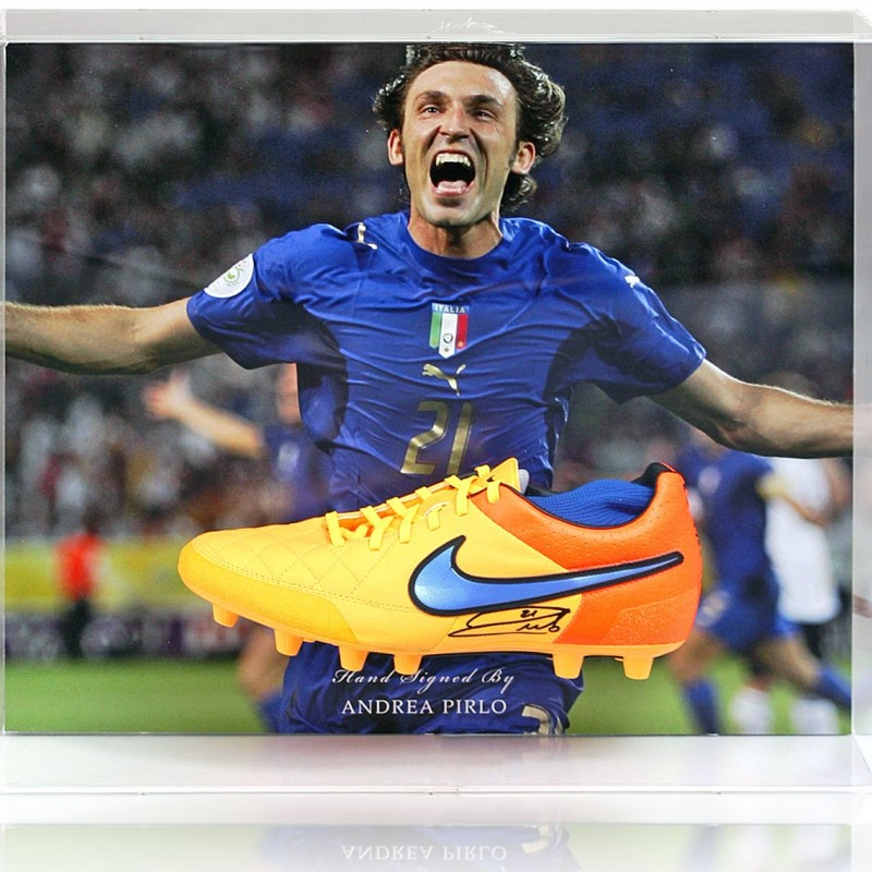 Andrea Pirlo Hand-Signed Italy Football Boot Presentation