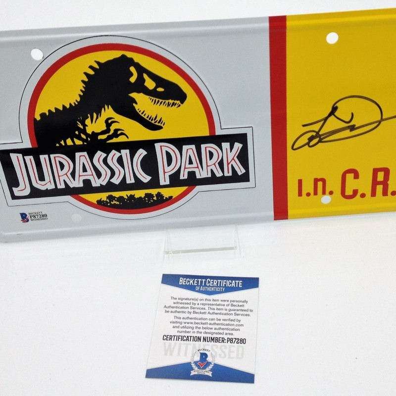 """Jurassic Park"" License Plate Signed by Laura Dern"