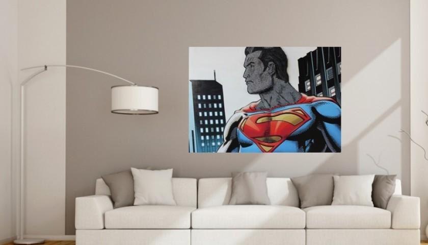 "Drill Monkeys Art Duo ""Superman"" acrylic on 3000 self-tapping screws - 120x82x8 cm"