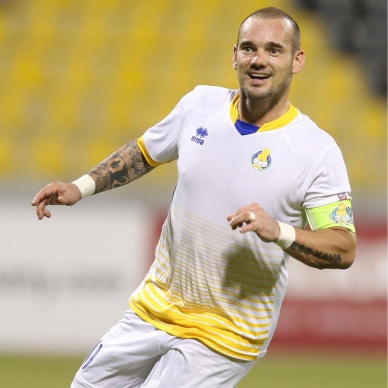 Sneijder's Signed Match Shirt, DHSC-Al Gharafa 2019