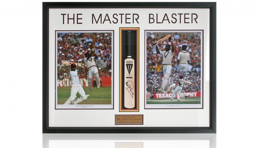 Sir Vivian Richards Hand Signed Mini Cricket Bat Presentation