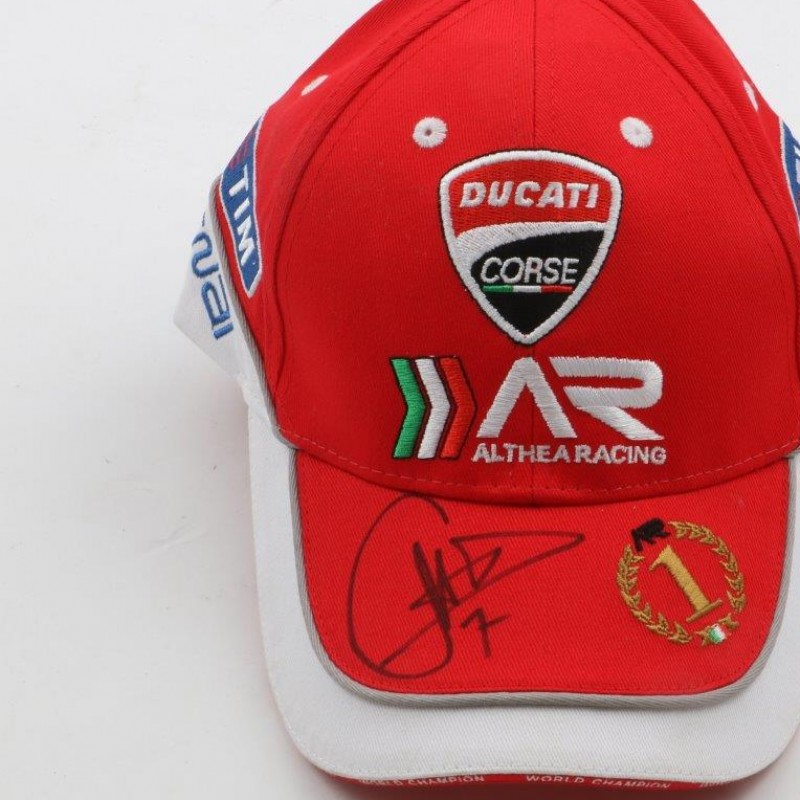 Official Ducati hat, signed by Carlo Checa